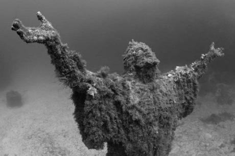 Статуя под водой ... леденящее зрелище