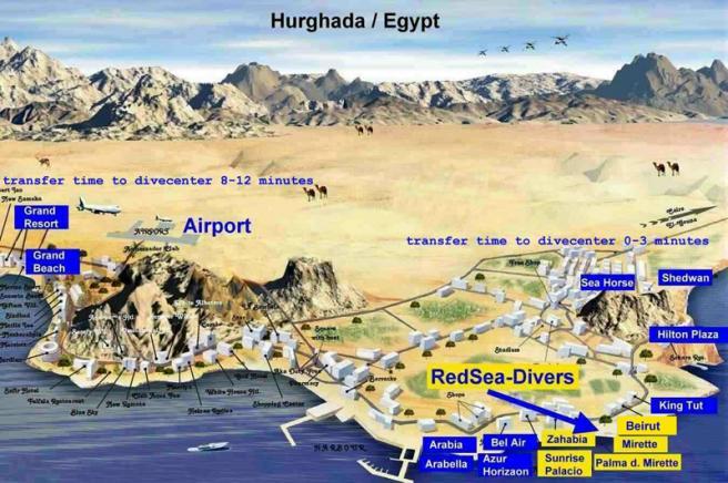 Туристическая карта Хургады фото