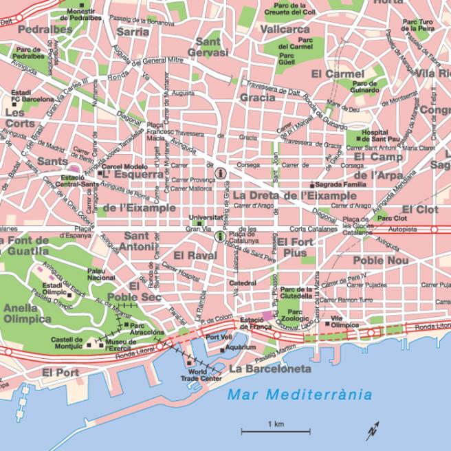 Барселона карта города