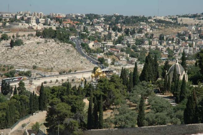 Виды Иерусалима: золотые купола - это православный женский монастырь, а рядом католический костел