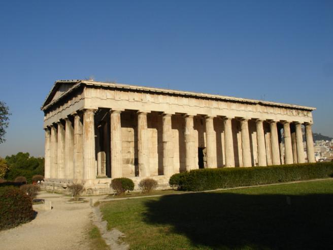 Храм Гефеста. Греция. Этот древнегреческий храм сохранился лучше всех. Он был построен неизвестным архитектором примерно в то же время что и Парфенон и посвящен Гефесту и Афине - покровителям ремесел. В этой части Агоры располагались ремесленные ряды.