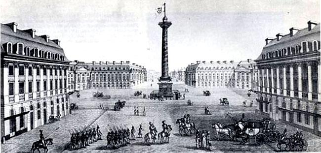 Вандомская площадь - Париж - 1814 год